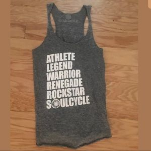 Womens SOUL CYCLE Gray Graphic Athlete Tank Top
